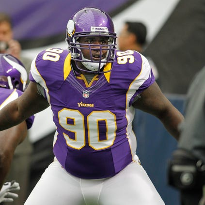 Sep 23, 2012; Minneapolis, MN, USA; Minnesota Vikings defensive tackle Fred Evans (90) runs drills before the game with the San Francisco 49ers at the Metrodome. Vikings win 24-13. Mandatory Credit: Bruce Kluckhohn-USA TODAY Sports