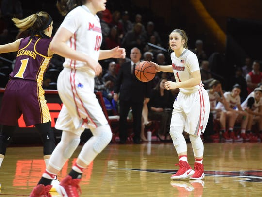 Marist's Claire Oberdorf, right, looks for an open teammate during a Jan. 26 game against Iona.