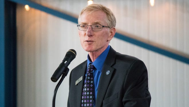 Larry Fletcher, president of Lake Erie Shores and Islands, discusses tourism growth during the annual State of Tourism Address event in May 2017.