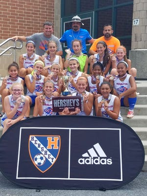 The Millville Pride U-15 girls' soccer team: Front row (left to right):  Lauren McCall, Olivia Giordano,  Abbey McGinley, and Joya Cisco. Second row:  Kayla Jacobo, Emily Thompson, Julianna Giordano, Emma Weiss, San'aa Doss, and Gabby Akiatan.      Third row:  Olivia Fiocchi, Jayme Sooy, Trista Cleaves, Corinne Vicente, and Mary Greco. Back row: Coach Dave Giordano, Coach Dan Greco, and Coach Bill Jacobo.