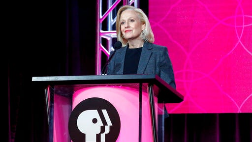 "FILE - In this Jan. 15, 2017 file photo, President and CEO Paula Kerger speaks at the PBS's Executive Session at the 2017 Television Critics Association press tour in Pasadena, Calif. President Donald Trump's 2018 budget proposal plans to kill funding for the Corporation for Public Broadcasting (CPB). ""We're celebrating the 50th anniversary of the Public Broadcasting Act, what I think has been the most successful public-private partnership _ how ironic it would be if we were defunded this year,"" said Kerger,"