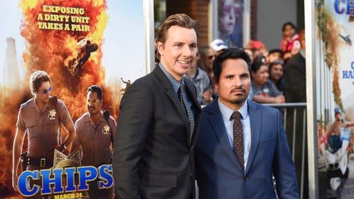 """Dax Shepard, left, and Michael Pena arrive at the Los Angeles premiere of """"CHIPS"""" at the TCL Chinese Theatre on Monday, March 20, 2017."""