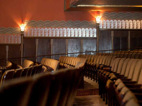 Art deco light fixtures and wall coverings decorate the MainStage at the Flynn Center for Performing Arts. The Flynn Theater, a Burlington landmark since 1930, was built by J.J. Flynn with hopes of hosting vaudeville acts but later became a premier movie house. After a renovation in 2014, including 1,411 new seats, the Flynn is home to a variety of musical and theater performances.