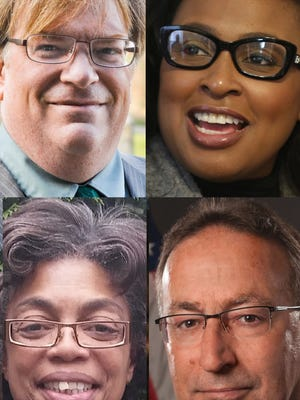 Candidates in the 2017 Rochester mayoral general election are Alex White (top left), Lovely Warren (top right), Lori Thomas (bottom left) and Tony Micciche (bottom right).
