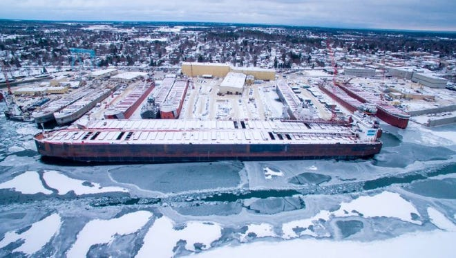 Sixteen vessels are docked for winter repairs at Fincantieri Bay Shipbuilding, Sturgeon Bay.