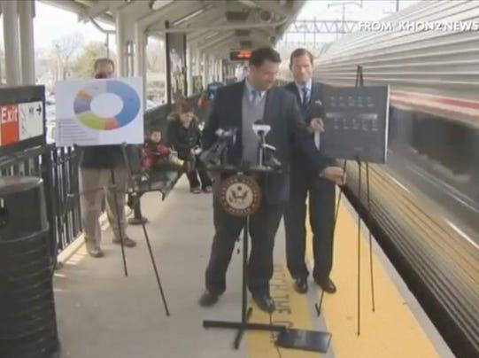 Train nearly sideswipes senator at rail safety event