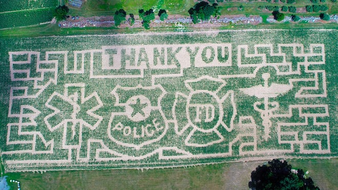 This year's corn maze, at Schartner Farm, in Bolton. Open in September, first responders and medical personnel are being offered free passes.