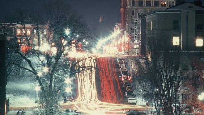 Downtown Iowa City is seen in 1975 looking up Washington Street.