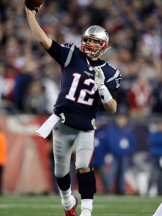 FILE - In this Sunday, Jan. 21, 2018, file photo, New England Patriots quarterback Tom Brady (12) throws against the Jacksonville Jaguars during the second half of the AFC championship NFL football game in Foxborough, Mass. The Patriots and the Philadelphia Eagles are set to meet in Super Bowl 52 on Sunday, Feb. 4, 2018, in Minneapolis. (AP Photo/Charles Krupa, File)