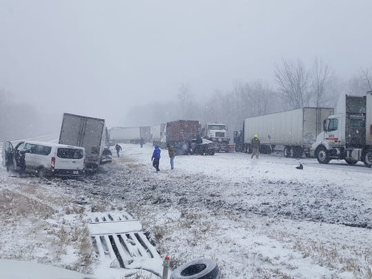 Westbound lanes on I-40 were closed after a multi-vehicle