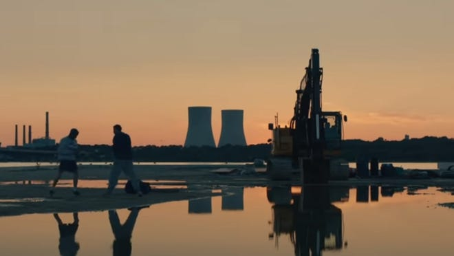 """The old cooling towers at Brayton Point in Fall River are seen in the background of this scene from the upcoming movie """"Jungleland."""""""