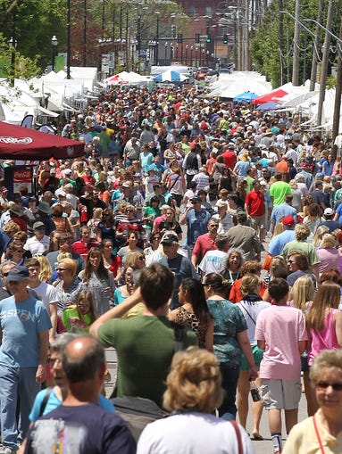Walnut Street was packed at ArtsFest in Springfield on May 3, 2014.