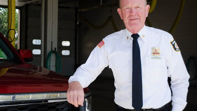 Richmond Fire Department Chief Jerry Purcell poses for a photo at the South Fifth Street fire station on Friday, Sept. 2, 2016 in Richmond, Indiana.