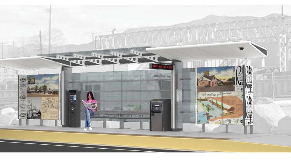 The third of three design concepts for a bus station