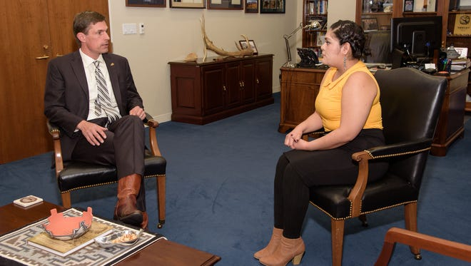 At left, Sen. Martin Heinrich, D-N.M., speaks with Carielle Bahe, a junior at the University of New Mexico, on Monday at his office in Washington, D.C. Bahe, who is from Crownpoint, will attend President Barack Obama's State of the Union address on Tuesday.
