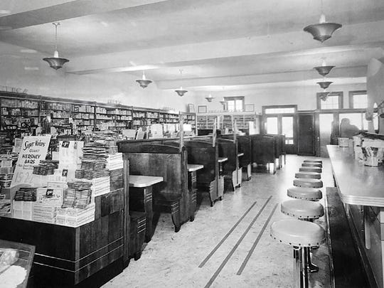 An early undated photo inside Hinkle's Pharmacy restaurant