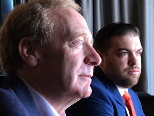 "Microsoft President Brad Smith, foreground, and Jonathan ""JJ"" Childress, Microsoft TechSpark community engagement manager for El Paso, talked about El Paso being selected for TechSpark during a Monday meeting with El Paso Times staff."