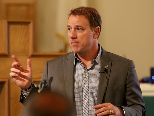 Rep. Pat Fallon talks to Wichitans Tuesday, April 24,