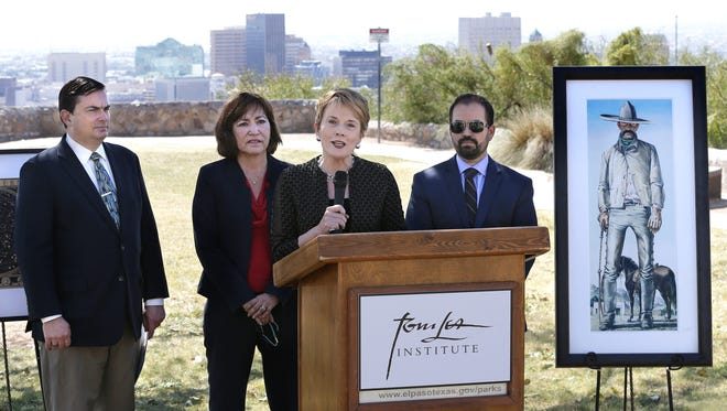 """Tom Lea Institute founder Adair Margo talks about the Tom Lea Trail on Thursday at Tom Lea Park. With Margo are Brad Patterson, division director of the Texas Historical Commission, left; state Rep. Evelina """"Lina"""" Ortega, D-El Paso; and state Rep. Joe Moody, D-El Paso."""
