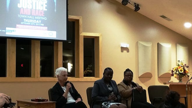 From left: Pastor Paula Maiorano, Law clerk Jessica Mann and Lower Sussex County NAACP President Jane Hovington speak  at a forum on criminal justice and race in Lewes.