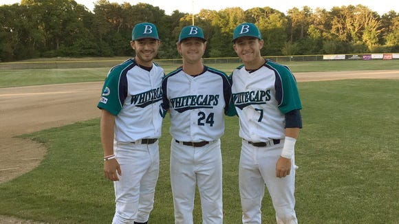 North Henderson graduate Zack Gahagan, far left, is playing his summer baseball for the Brewster (Mass.) Whitecaps.