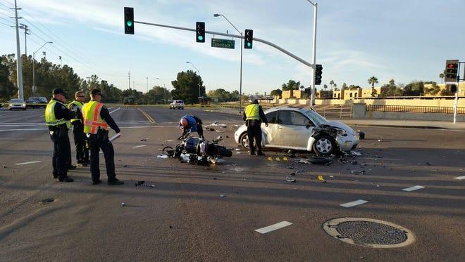 The scene of a fatal motorcyle-car crash at Camelback and Hayden roads in Scottsdale on Jan. 12, 2017.