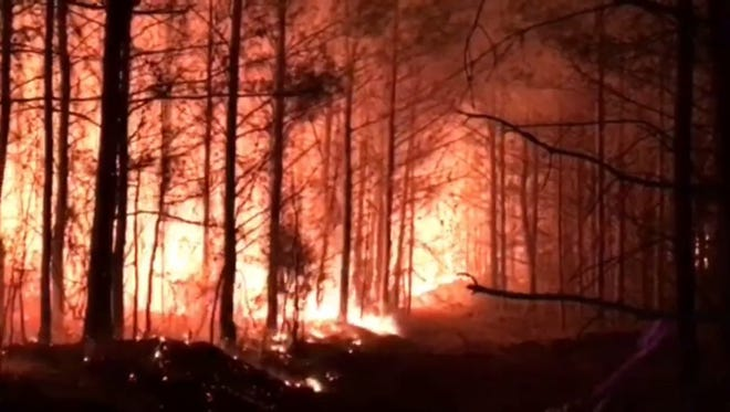 A wildfire in Leake County.