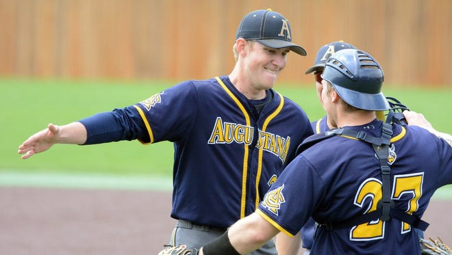 Augustana pitcher Jacob Blank celebrates no-hitting Minnesota Duluth Saturday with catcher Ryan Menssen.