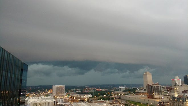 A severe storm rolls into downtown Nashville Saturday, May 27, 2017.