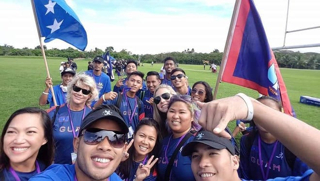 Guam-born Scott James Fiti, foreground, of Tamuning, recently represented Chuuk in the Oceania Championships in Fiji. In the 100 meter race, he was fourth overall with a time of 10.94 according to the event website. He's shown in a selfie with Team Guam and Team FSM athletes.