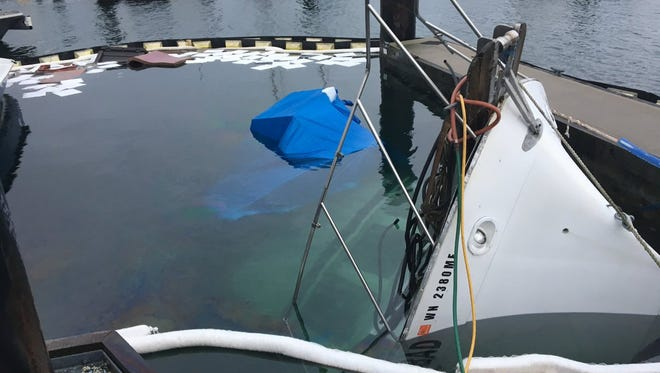 A 34-foot Tollycraft sank Monday at Bremerton Marina.