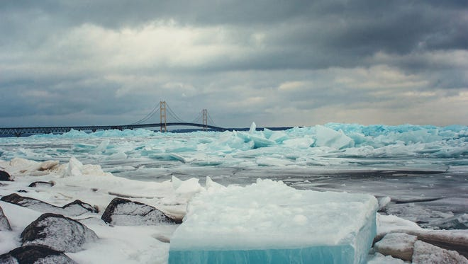 Blue ice is seen on the shores of the Straits of Mackinac in Mackinaw City, Monday, Feb. 26, 2018.