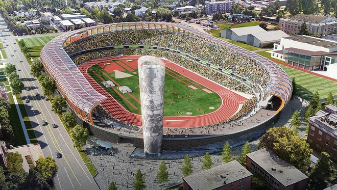 A look at what the new Hayward Field track and field facility is supposed to look like in Eugene.