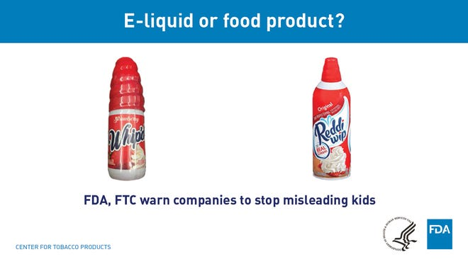 Some e-cigarette liquid packaging looks just like that of foods that's attractive to kids.
