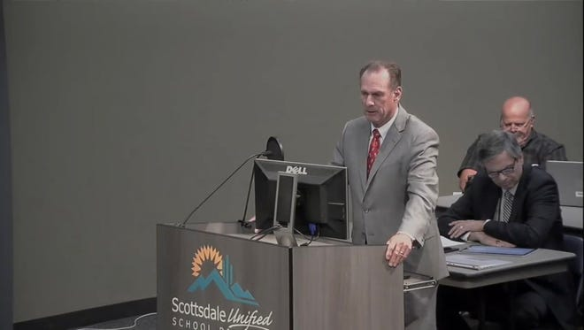 Scottsdale Unified School District interim superintendent John Kriekard addresses the school board at a meeting on June. 26.