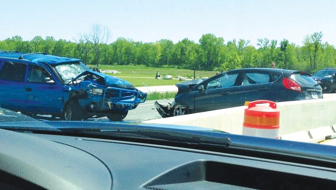 A southbound driver on U.S. 41 tweeted this photo of Sunday's crash scene. Julie Harrell was driving the Ford Fiesta at right, with her father and sister as passengers. They were struck by the Dodge Durango at left, driven by David A. Lackowski.