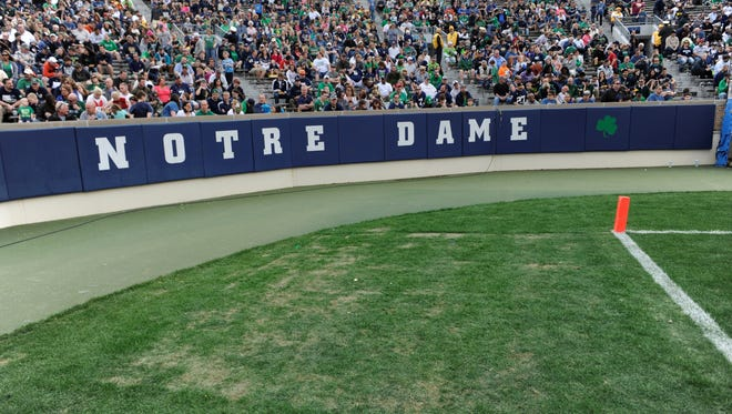 Artificial turf will be installed at Notre Dame Stadium in time for the start of the upcoming football season, athletic director Jack Swarbrick said.