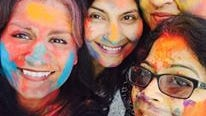 Pictured celebrating at the spring Holi Festival hosted by the Indian Women's Association  are (from left) Seema Mattoo, Rakhshi Ahsan, Rwitti Roy and Debjaya Misra.