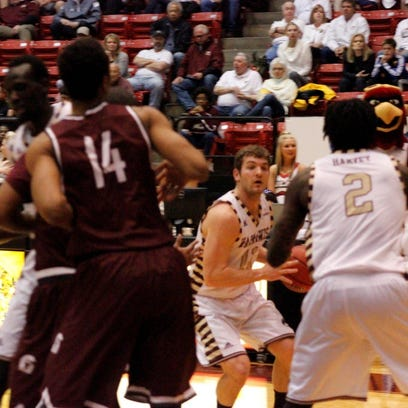 ULM junior guard Nick Coppola looks for the inside