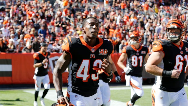 Cincinnati Bengals free safety George Iloka (43) takes the field for the first quarter of the NFL Week 4 game between the Cleveland Browns and the Cincinnati Bengals at FirstEnergy Stadium in downtown Cleveland on Sunday, Oct. 1, 2017. At halftime the Bengals led 21-0.