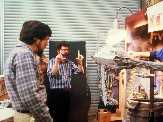 George Lucas frames up a shot during 'Star Wars,' which