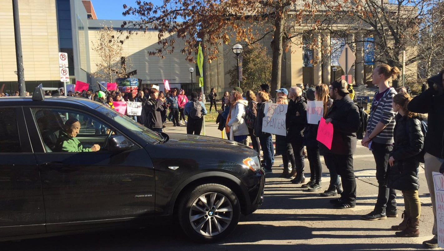 U-M students walk out of class to protest possible visit by white supremacist Spencer