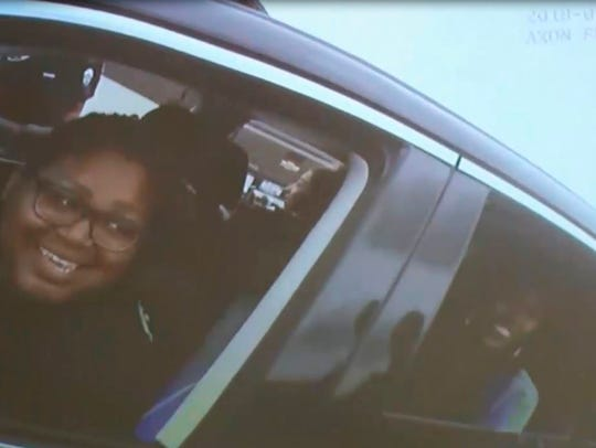 This April 30, 2018 image taken from video of body camera footage released by the Rialto Police Department and provided by KABC-TV, shows two women in a car pulled over by police in Rialto, Calif.
