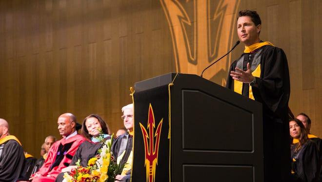 Arizona native Matt Barrie, now an ESPN SportsCenter anchor, spoke to Arizona State athlete graduates Monday.