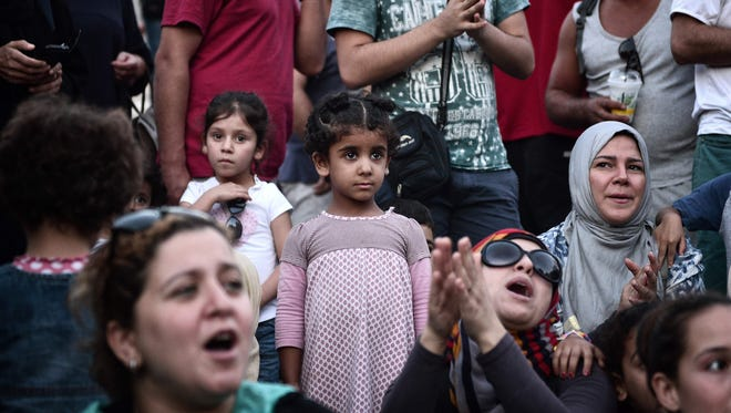 Refugees protest in Athens on Sept. 2, 2016.