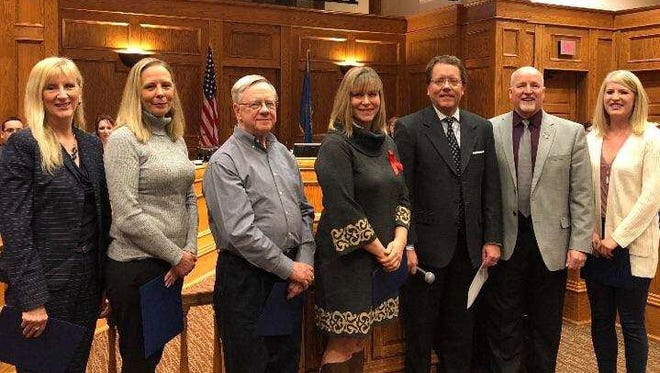 Laurie Fluit, Tessica Severson, Clair Halverson, Jayme Nelson and Angela DeClerk were presenter with the inaugural SIOUXPER HERO Awards this week by Councilors Marshall Selberg and Rick Kiley.