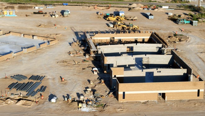 A rare aerial view of the new Deming Intermediate School construction was made possible during a hot air balloon ride during the 38th annual Great American Duck Race on Sunday, Aug. 27, 2017. The new school, scheduled for completion in 2018, is located off of NM-418 west of Bataan Elementary School.