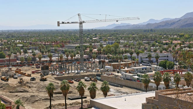 Construction continues at the site of the redevelopment project in downtown Palm Springs, September 3, 2015. A public corruption investigation involving Palm Springs officials is not expected to halt the project.