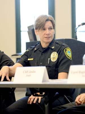 Asheville Police Chief Tammy Hooper answers questions from members of the Citizen Police Advisory Committee during a meeting Oct. 5 at the Asheville Police Department.