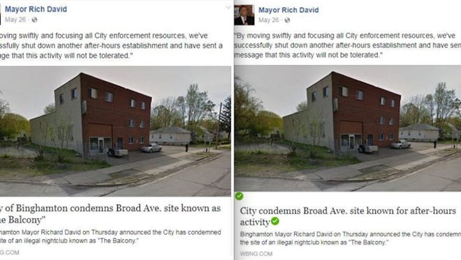 An aide with Mayor Richard David's campaign altered at least 16 news headlines in links on the mayor's Facebook page. (The altered links have green check marks next to them.)